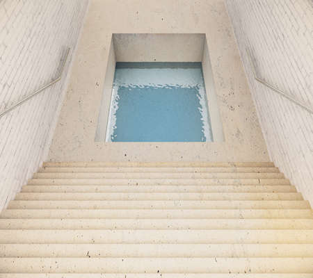 leading: Stairway leading to hole filled with water. 3D Rendering