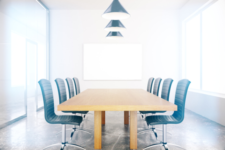 boardroom: Conference room interior with blank board. Mock up, 3D Rendering