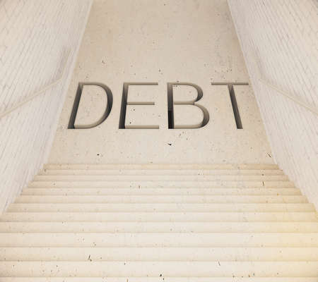 leading: Staircase leading to debt. 3D Rendering
