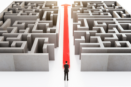 cutting through: Businessperson standing next to red arrow cutting through maze. 3D Rendering Stock Photo