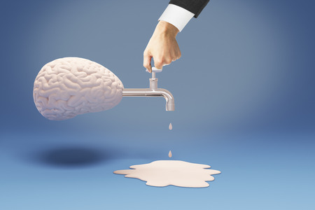 drain: Brain drain concept with businessman hand on tap coming out of abstract brain on blue background. 3D Rendering
