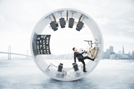 unstable: Abstract office interior with running businessman inside concrete cylinder on foggy city background. 3D Rendering Stock Photo
