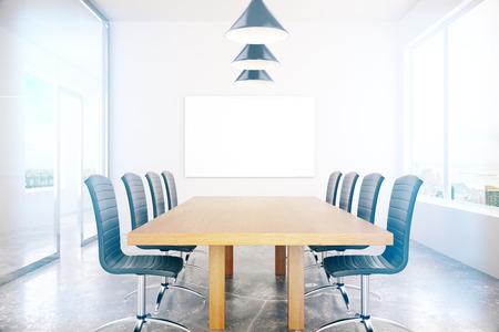 board room: Boarding room interior with blank board. Mock up, 3D Rendering