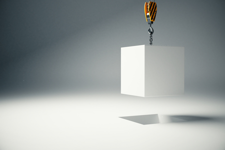 White block suspended on crane hook on light background. 3D Rendering