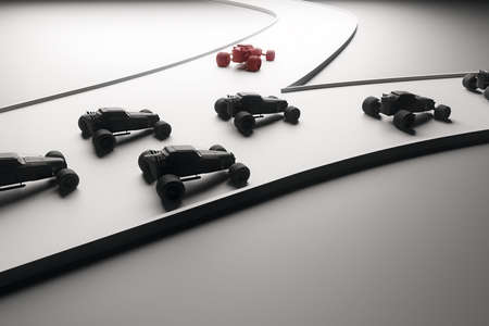 sideview: Different direction concept with abstract red car going in one direction and flow of black cars in another. Sideview, 3D Rendering