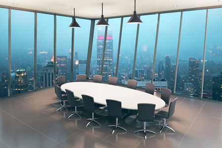 boardroom: Boardroom interior design with tile floor and night city view. 3D Rendering