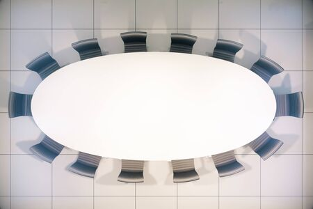 conference table: Topview of blank white conference table. Mock up, 3D Rendering