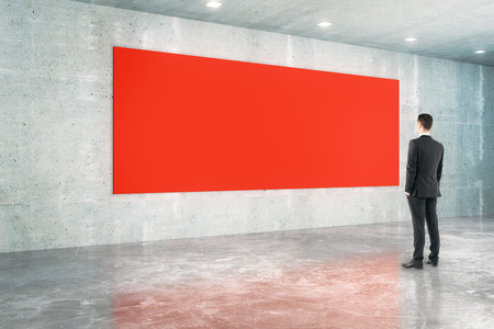 blank billboard: Red board and businessman in concrete interior design. Mock up, 3D Rendering