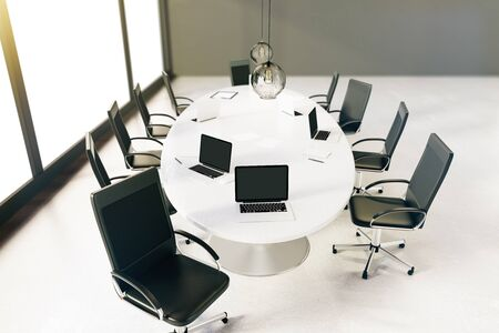 sideview: Sideview of small conference room with table and chairs. 3D Rendering