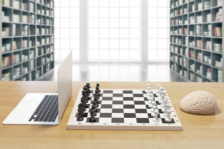 mentioned: Computer vs human brain concept with two of the previously mentioned playing chess in library. 3D Rendering Stock Photo
