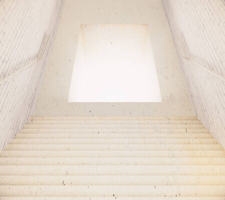 way out: Stairway leading to illuminated hole. 3D Rendering Stock Photo