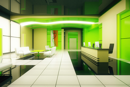 Green business interior with reception. 3D Rendering
