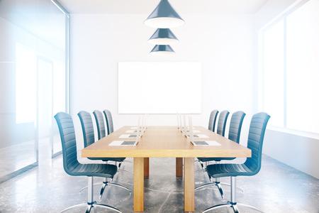 board room: Meeting room interior with blank board. Mock up, 3D Rendering