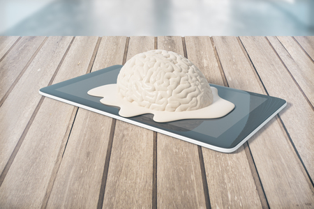 imagine a science: Degradation concept with brain melting on tablet placed on wooden planks. 3D Rendering Stock Photo