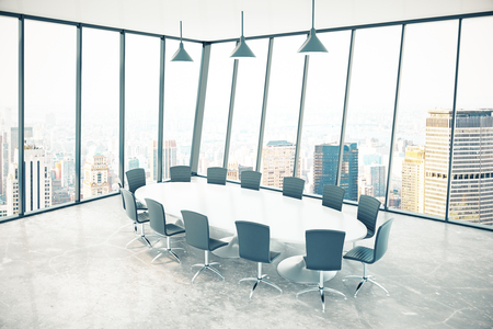 executive apartment: Conference room interior with panoramic windows and city view. 3D Rendering Stock Photo