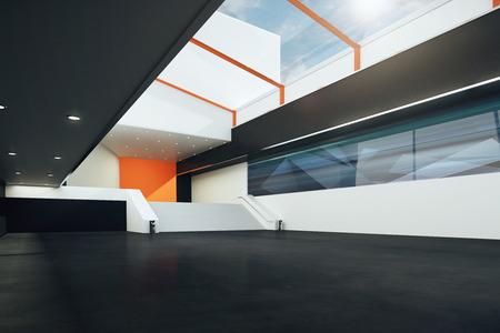 sideview: Sideview of futuristic room with stairs, black floor, orange and white walls. 3D Rendering