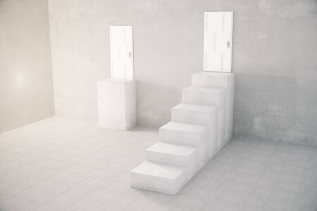 leading the way: Concrete interior with stand and staircase leading to door. 3D Rendering