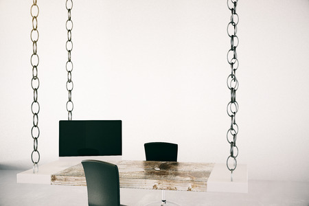 suspended: Office interior with blank wall, desk suspended on chains, computer monitor and chair.Mock up, 3D Rendering