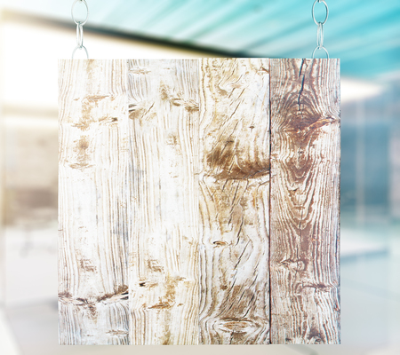 hang up: Blank wooden board with interior in the background. Mock up, 3D Rendering