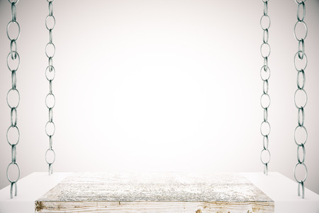 suspend: Blank shelf suspended on chains on light background. Mock up, 3D rendering Stock Photo