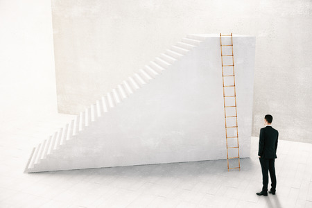 which: Businessman thinking which way to go to achieve the goal concept with stairs, 3D Rendering