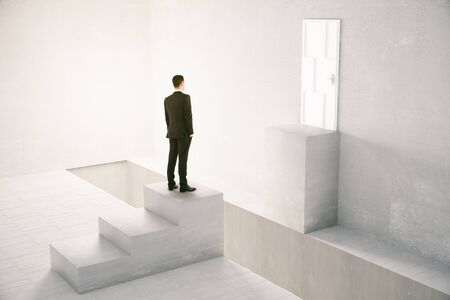 obstacle: Concept of obstacle overcoming with businessman standing in front of gap between stairs and door. 3D Rendering Stock Photo