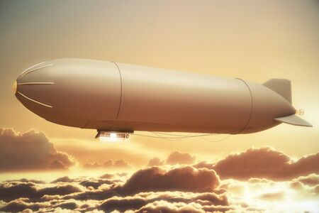 sunlit: Airship in golden sunlit sky with clouds. Mock up, 3D Rendering