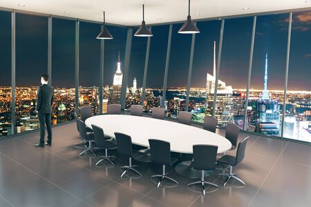 night background: Boarding room interior design with businessman and night city view. 3D Rendering