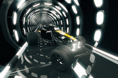 Sideview of Hot-Rod car in illuminated tunnel. 3D Rendering
