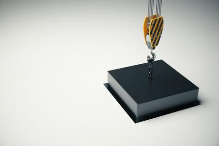 black block: bloque negro en el gancho de la grúa va en el agujero de la luz de fondo. Representación 3D Foto de archivo