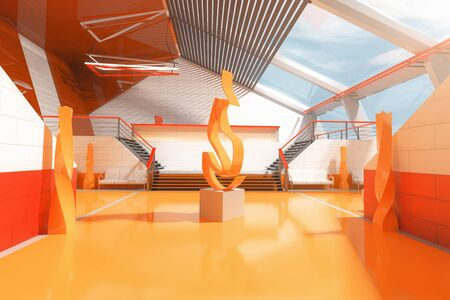 art piece: Orange interior with stairs, panoramic windows and abstract fire art piece in the middle. 3D Rendering