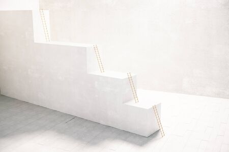 concrete stairs: Stairway with ladders inside concrete interior. 3D Rendering