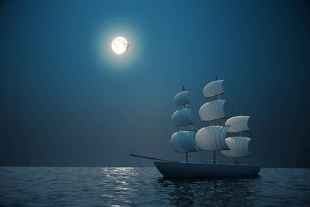 brigand: Ship on water with night sky and moon in the background. 3D Rendering