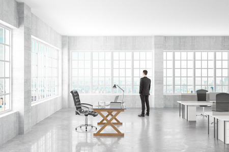 office space: Manager looking to the window in a open space office, 3D Render Stock Photo