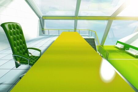 futuristic interior: Closeup of green table and chair in futuristic interior with panoramic windows and stairs. 3D Rendering
