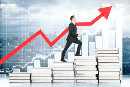 stairway: Education concept with businessman climbing book stairway with business chart and red arrow in the background. 3D Rendering
