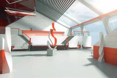 art piece: Futuristic red and white interior with stairs, panoramic windows and abstract fire art piece in the middle. 3D Rendering