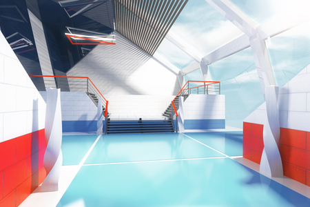 futuristic interior: Sideview of futuristic interior with blue floor, red and white walls and panoramic windows. 3D Rendering