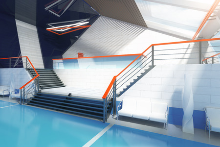 futuristic interior: Stairs in blue futuristic interior with shiny floor. 3D Rendering