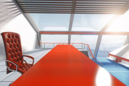 stairs interior: Closeup of red table and chair in futuristic interior with panoramic windows and stairs. 3D Rendering