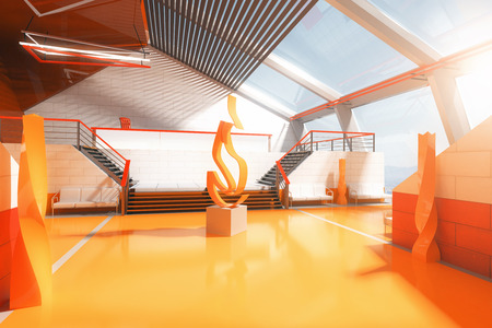 art piece: Futuristic orange interior with stairs, panoramic windows and abstract fire art piece in the middle. 3D Rendering Stock Photo