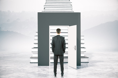 leading education: Education concept with businessman standing in front of open book door leading to ladder. 3D Rendering