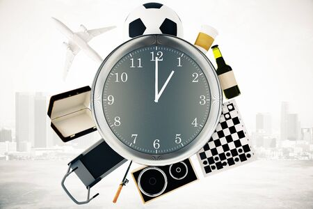 busy city: Various items such as treadmill, chessboard, coffee, football and airplane around large clock on misty city background. Time management concept. 3D Rendering