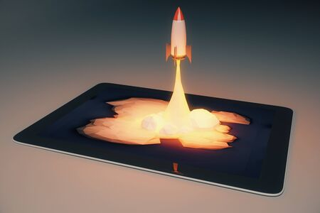 emarketing: Start up concept with abstract rocket launching from tablet screen on dark grey background. 3D Rendering