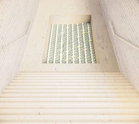 greediness: Stairway leading to hole filled with money. 3D Rendering