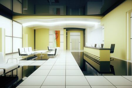 business reception: Light business interior with reception. 3D Rendering Stock Photo