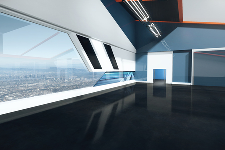 black floor: Interior design with black floor, grey and blue walls and window with city view. 3D Rendering
