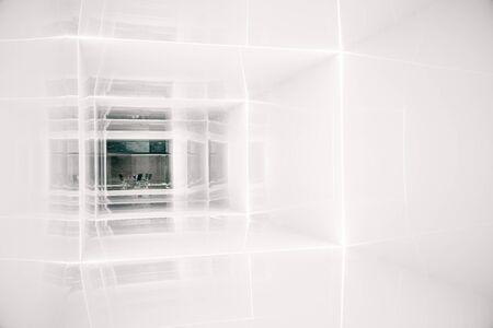 leading: Bright corridor leading to office interior. 3D Rendering Stock Photo