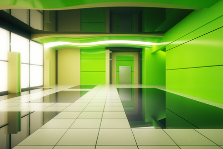 unfurnished: Unfurnished green futuristic interior design. 3D Rendering Stock Photo
