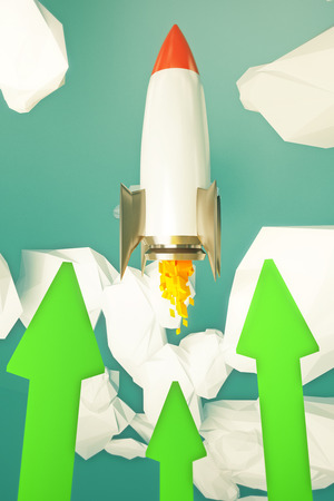 going green: Start up concept with rocket going up in abstract sky with green arrows. 3D Rendering Stock Photo